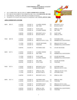 1 2010 coed indoor volleyball league game schedule • all games