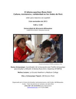 El idioma quechua (Runa Simi) Cultura, resistencia y solidaridad en