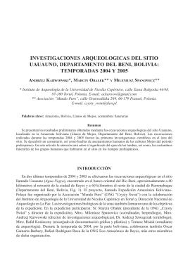 Investigaciones arqueológicas del sitio Uauauno, Departamento del