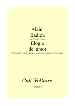 Alain Badiou Elogio del amor Café Voltaire