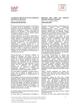Ley Orgánica 1/2002, de 22 de marzo, Reguladora del