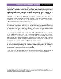 NOTA DE PRENSA /DGCE/ PROGRAMAS IMMEX