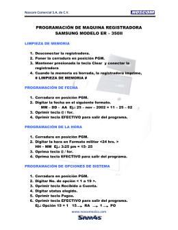 programación de maquina registradora samsung modelo er – 350ii