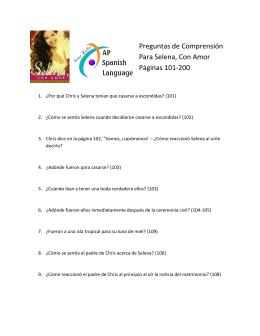 Preguntas de Comprensión Para Selena, Con Amor Páginas 101-200