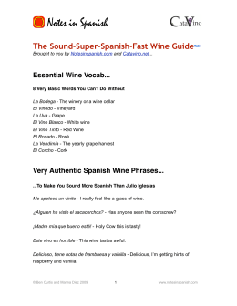 Spanish Wine Vocab - Notes in Spanish and Catavino