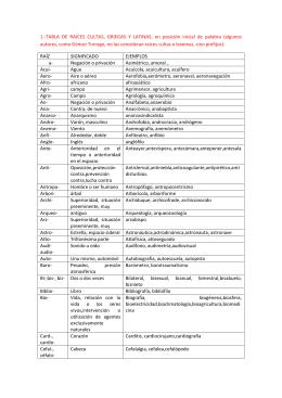 1.-TABLA DE RAÍCES CULTAS, GRIEGAS Y LATINAS, en posición