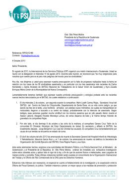 Carta de la PSI al Presidente de Guatemala