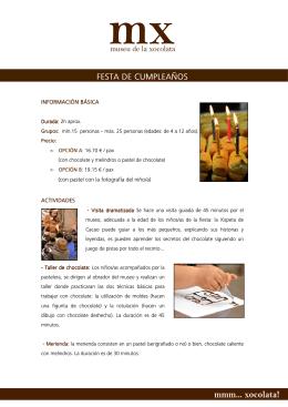 FESTA DE CUMPLEAÑOS - Museu de la Xocolata
