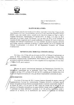 razón de relatoría sentencia del tribunal constitucional tecedentes