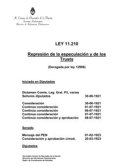 LEY 11.210 Represión de la especulación y de los Trusts