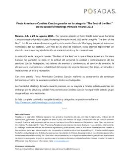 Fiesta Americana Condesa Cancún ganador en la