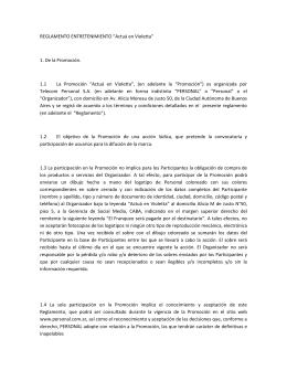 """REGLAMENTO ENTRETENIMIENTO """"Actuá en Violetta"""
