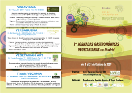 1as JORNADAS GASTRONÓMICAS VEGETARIANAS en Madrid