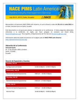 Ubicación de la Conferencia: Horario de Exposición y Eventos
