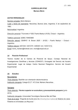 CV - MM 1 CURRICULUM VITAE Mariano Moris - cenpat