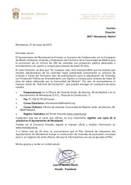 Carta - Ayuntamiento de Moralzarzal