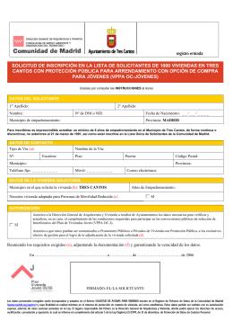 solicitud de inscripción en la lista de solicitantes de 1000 viviendas