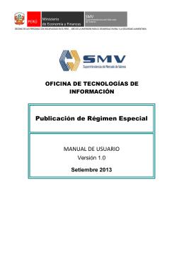 Publicación del Régimen Especial