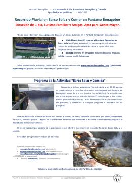 Recorrido Fluvial en Barco Solar y Comer en Pantano Benagéber