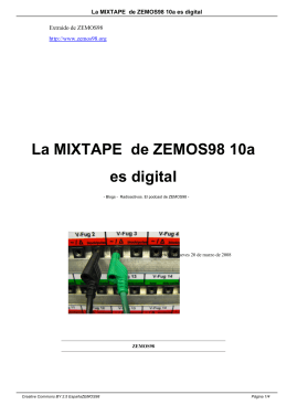 La MIXTAPE de ZEMOS98 10a es digital