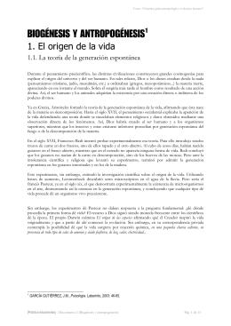 """BIOGÉNESIS Y ANTROPOGÉNESIS1 - ies """"poeta claudio rodríguez"""""""