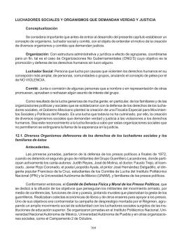 LUCHADORES SOCIALES Y ORGANISMOS QUE DEMANDAN