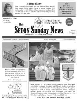 September 27, 2015 - St. Elizabeth Ann Seton