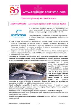 ACONTECIMIENTO – Aeroscopia: apertura el 14 de enero de 2015