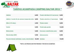 TARIFAS ACAMPADA CAMPING BALTAR 2015 *