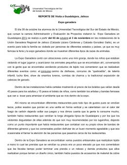 REPORTE DE Visita a Guadalajara, Jalisco Expo ganadera El día