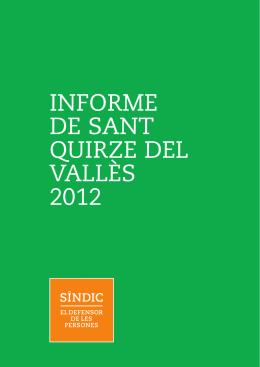 INFORME DE SANT QUIRZE DEL VALLÈS 2012