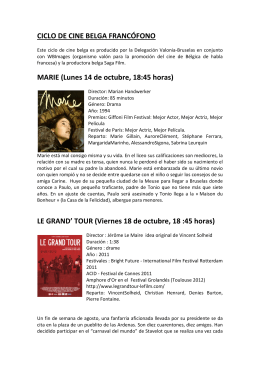 CICLO DE CINE BELGA FRANCÓFONO MARIE (Lunes 14 de