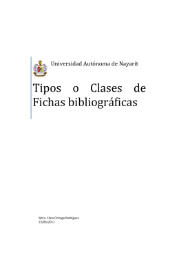Tipos o Clases de Fichas bibliográficas