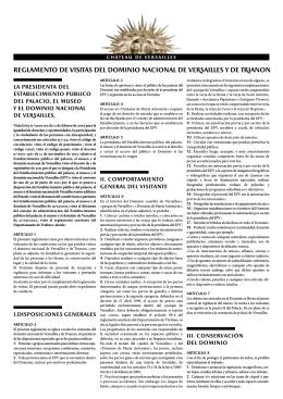 rEGLAMENTO DE VISITAS DEL Dominio NACIONAL DE VeRsailles