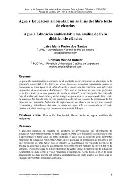 Agua y Educación ambiental: un análisis del libro