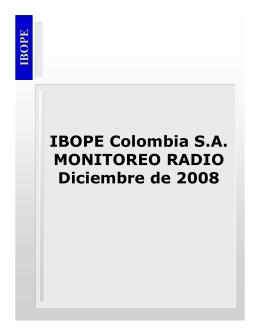 IBOPE Colombia S.A. MONITOREO RADIO Diciembre de 2008