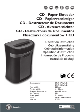CD - Paper Shredder CD - Papiervernietiger CD