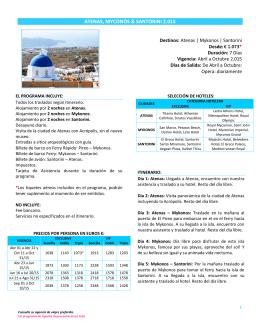 ATENAS, MYCONOS & SANTORINI 2.015