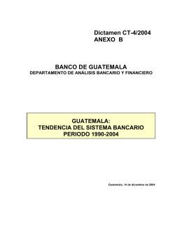 Anexo B. Guatemala: Tendencia del sistema bancario. Período