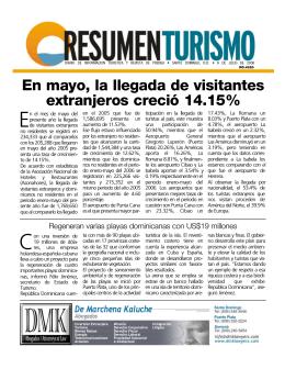 En mayo, la llegada de visitantes extranjeros creció 14.15%