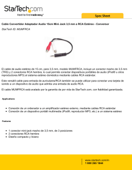 Cable Convertidor Adaptador Audio 15cm Mini Jack 3,5 mm a RCA