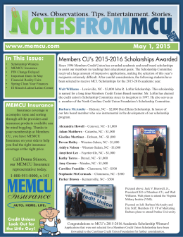www.memcu.com May 1, 2015 In This Issue: Members CU`s 2015