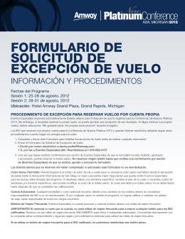 FORMULARIO DE SOLICITUD DE EXCEPCIÓN DE VUELO