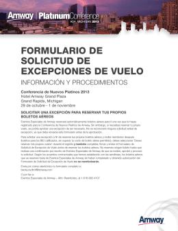 FORMULARIO DE SOLICITUD DE EXCEPCIONES DE VUELO