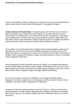 Revista Shock, 10 años premiando artistas colombianos