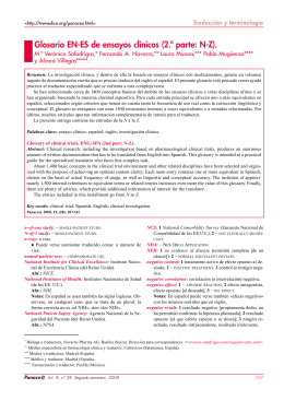 Glosario EN-ES de ensayos clínicos (2.ª parte: N-Z).