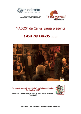 """Carlos Saura rememora en """"Fados"""" su amor desde nio por la cancin"""