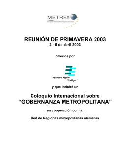 """REUNIÓN DE PRIMAVERA 2003 """"GOBERNANZA METROPOLITANA"""""""