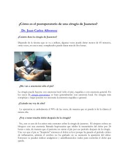 Postoperatorio de una cirugía de juanetes(pdf.)