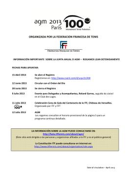 9-13 July 2013 ORGANIZADA POR LA FEDERACIÓN